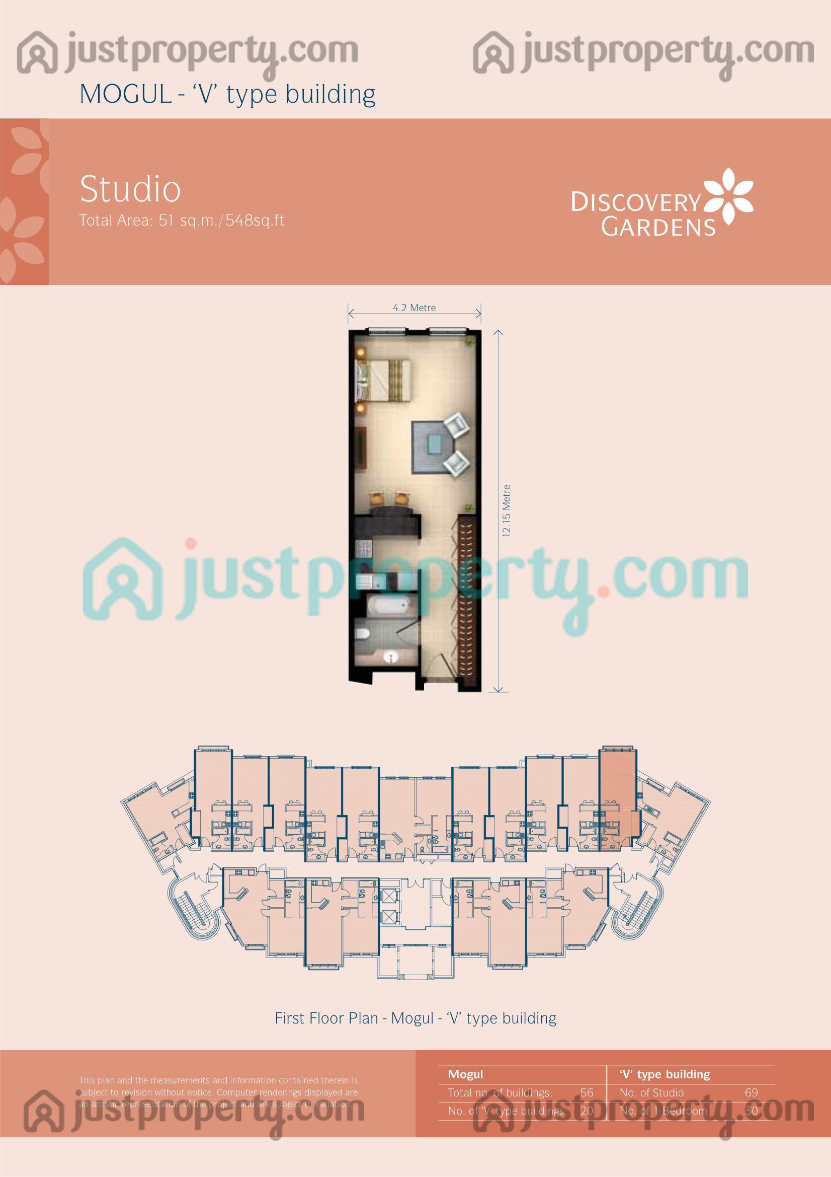 Mogul floor plans for Studio type plan