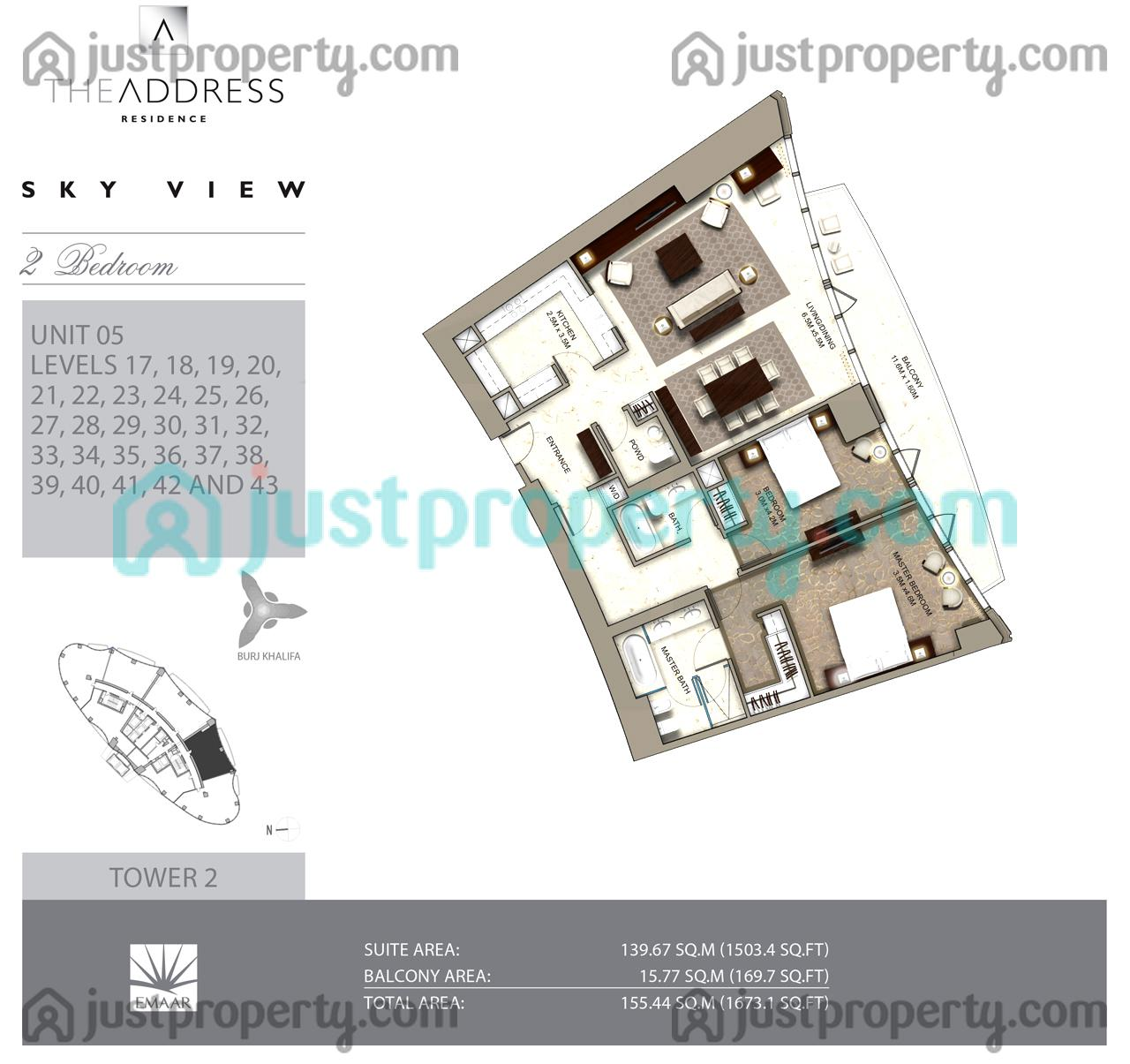 Sky view tower 2 floor plans for Floor plans by address