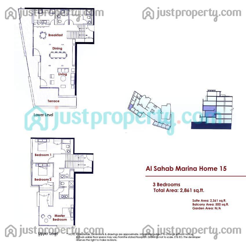Al Sahab Marina Homes Floor Plans Justproperty Com