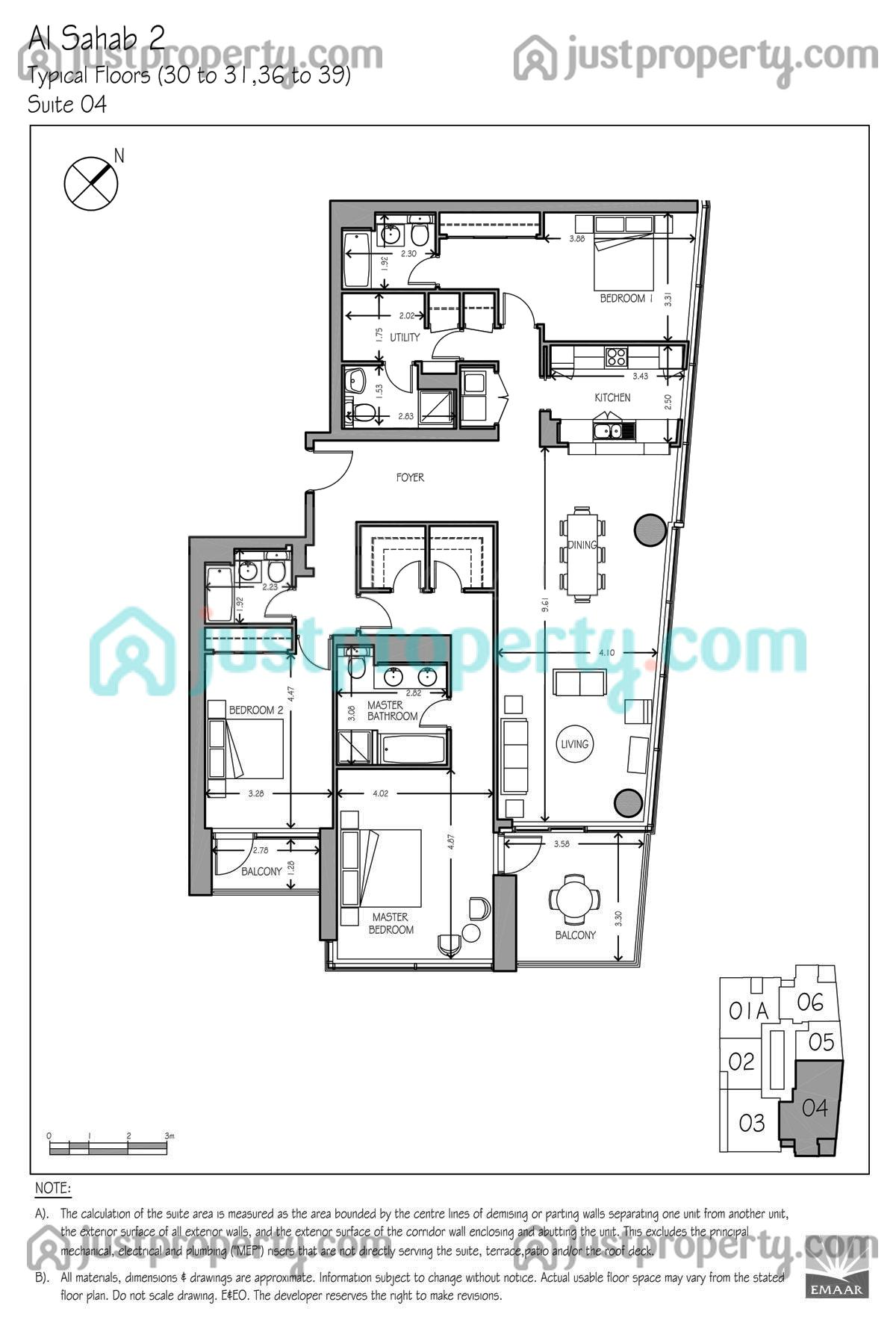 Al Sahab T2 Version 1 Floor Plans Justproperty Com