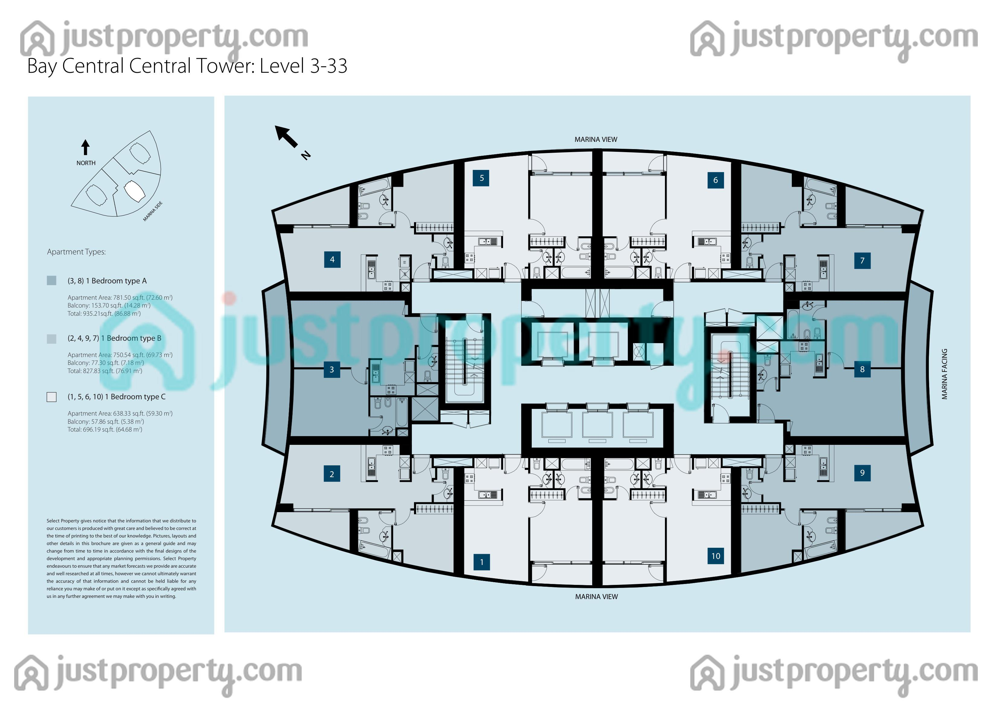 Bay central central tower floor plans for Apartment plans dubai