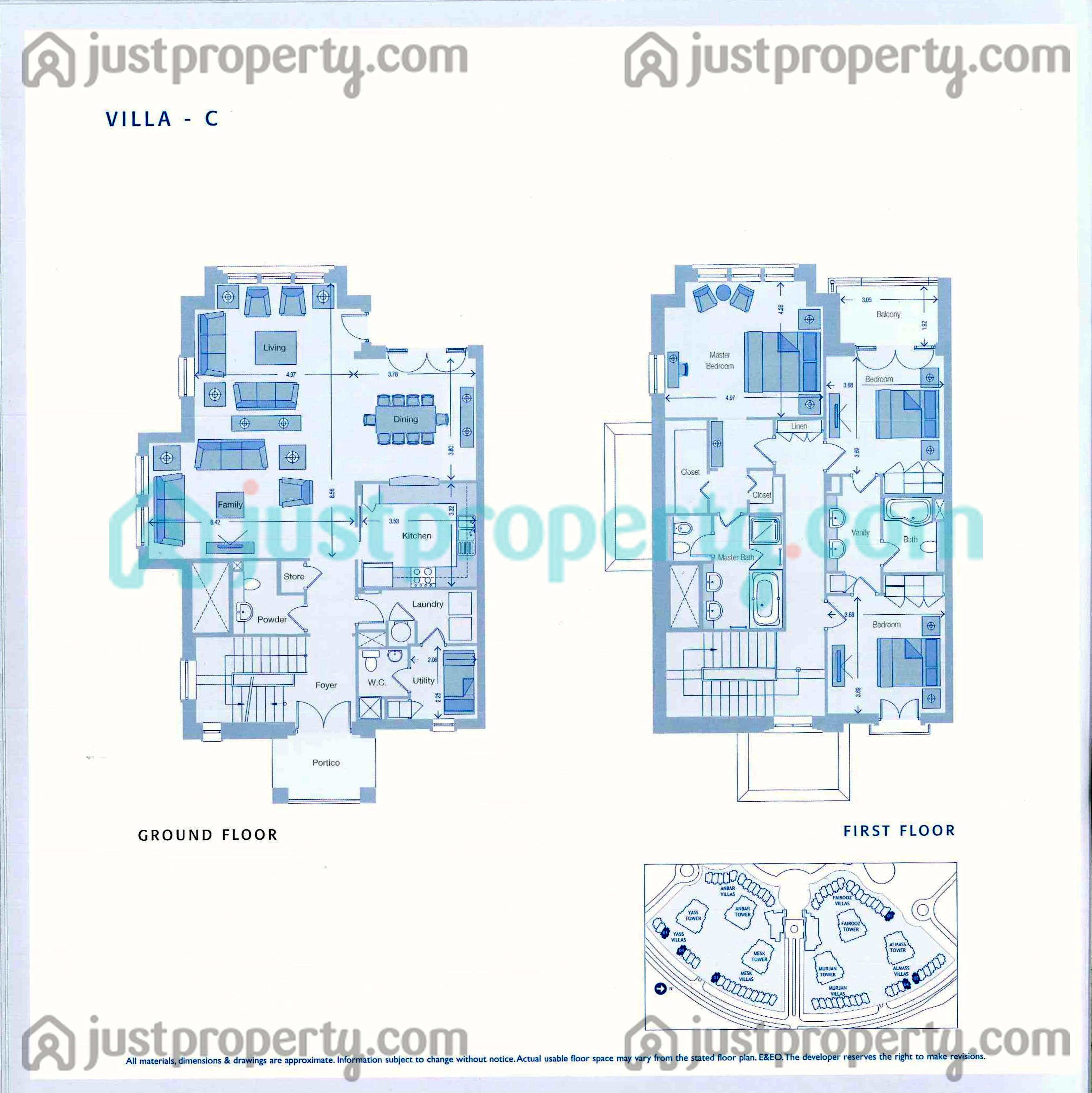 Six towers villas floor plans for Villas floor plans