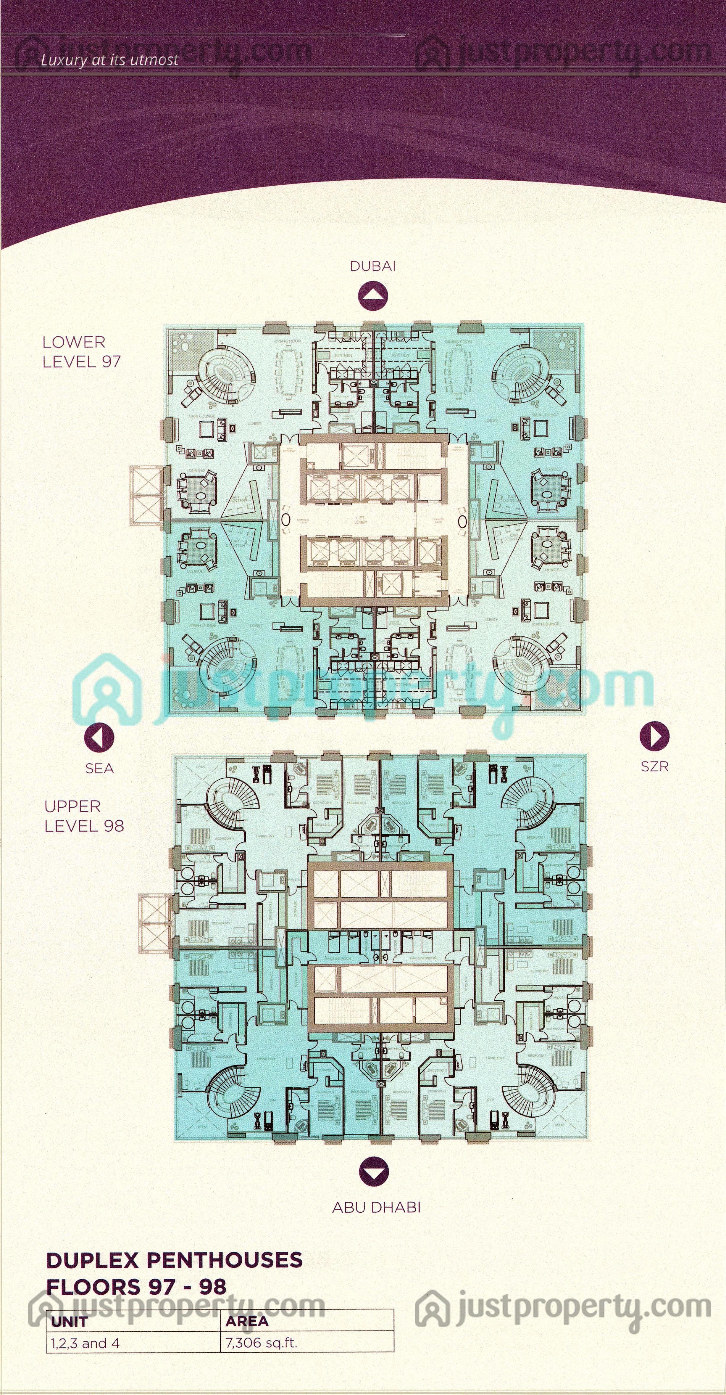 Floor Plans for Marina 101 (Dream Tower)