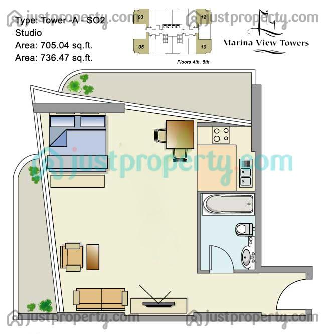 Floor Plans for Marina View Tower A