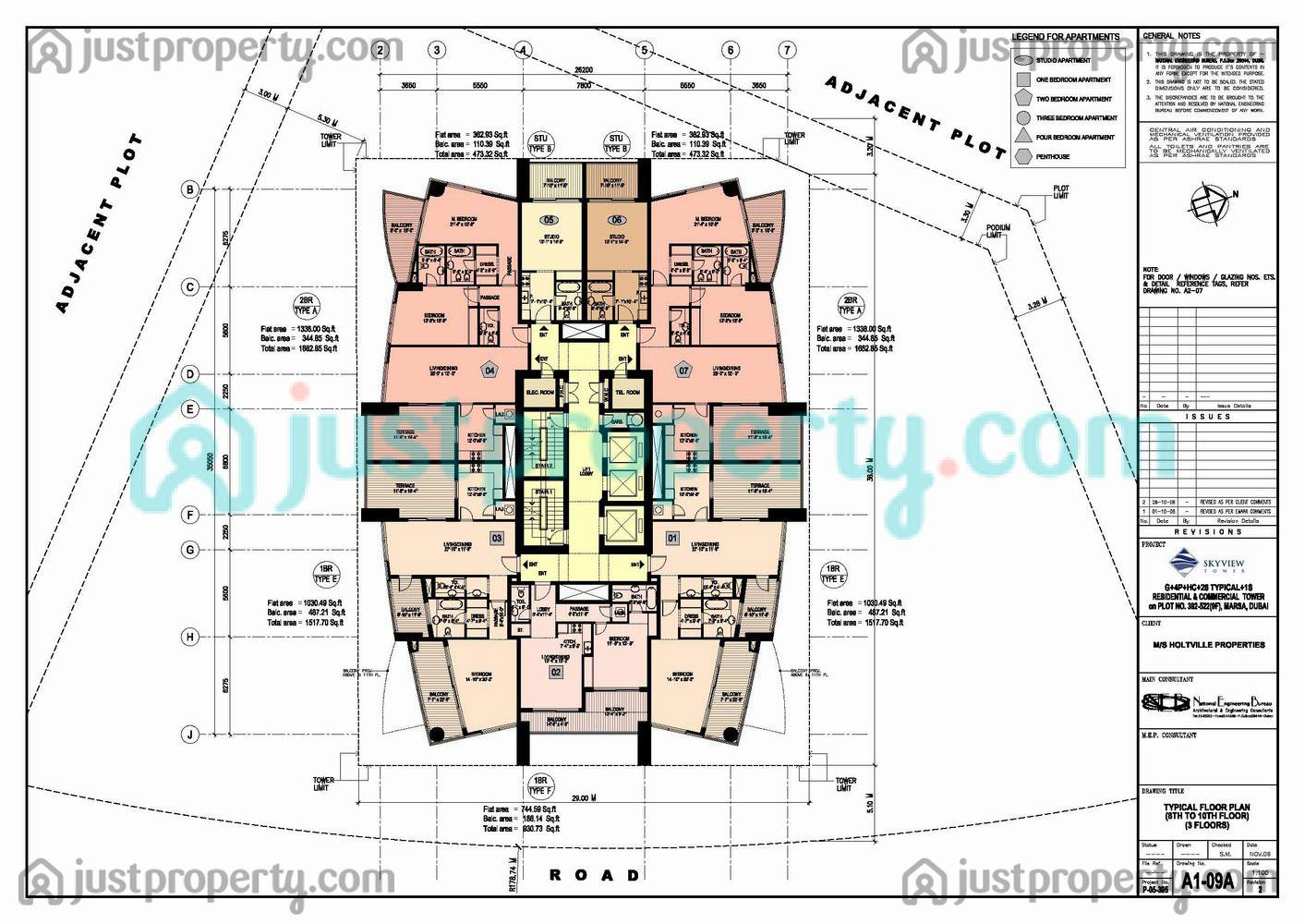 Floor Plans for Skyview Tower