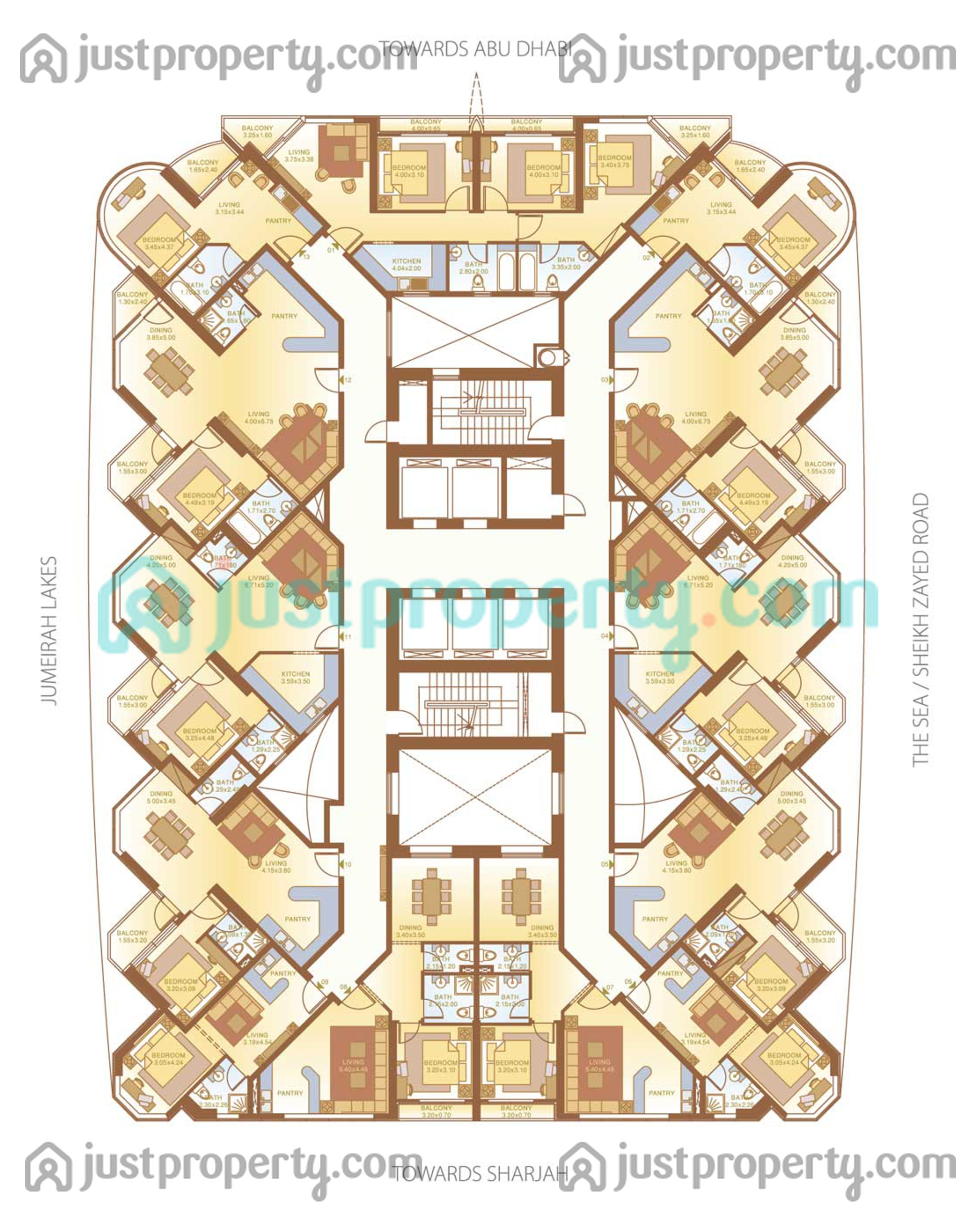 Dubai gate 2 floor plans for Floor plans zulal lakes dubai