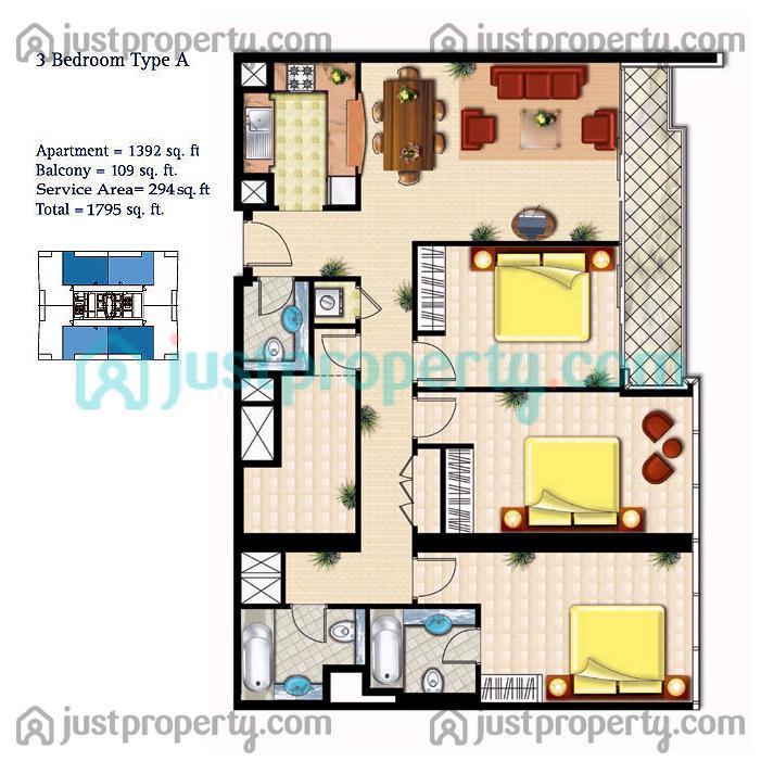 Global Lake View Version 2 Floor Plans | JustProperty.com