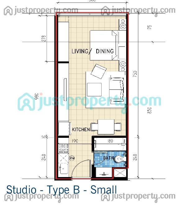 Sky courts floor plans for Studio type plan