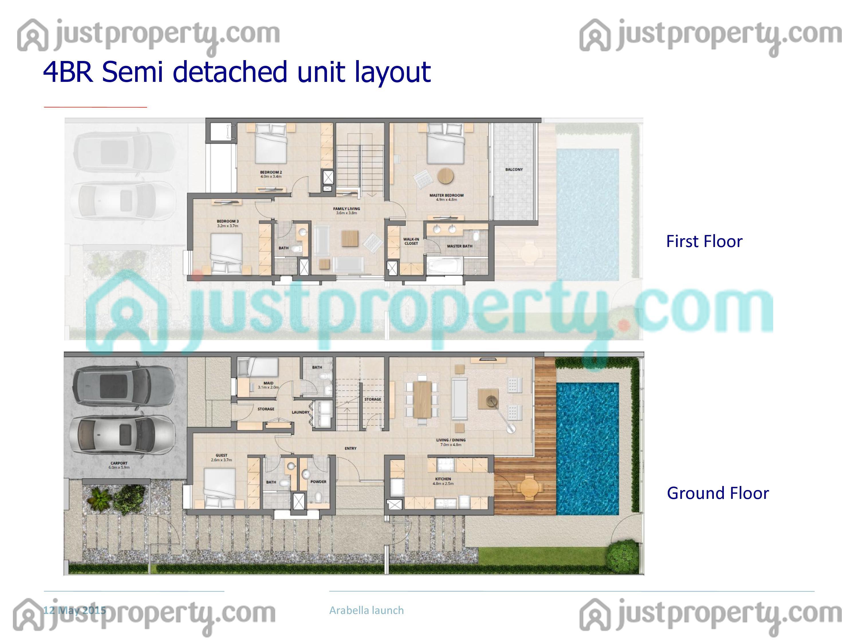 Mudon Arabella Townhouses Floor Plans