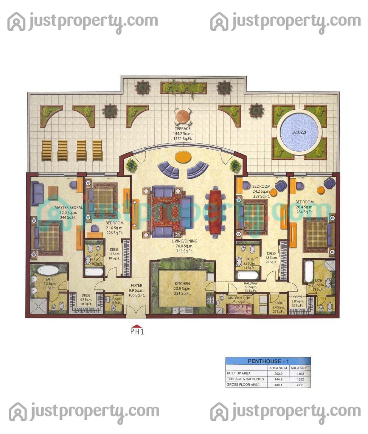 Penthouses Floor Plans Justproperty Com